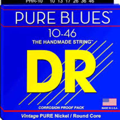 DR Strings PHR-10 Pure Blues Pure Nickel Electic Guitar Strings -.010-.046 Medium for sale
