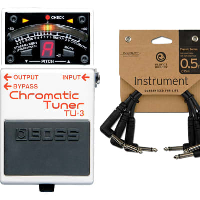 Boss TU-3 Chromatic Tuner Pedal + Patch Cables for sale
