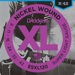 D'Addario ESXL120 Nickel Wound Electric Guitar Strings Super Light Double Ball End 9-42