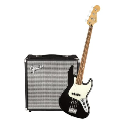 Fender Player Jazz Bass Pau Black Ferro & Fender Rumble 25 Bundle for sale