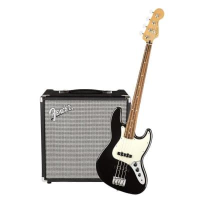 Fender Player Jazz Bass Pau Black Ferro & Fender Rumble 25 Bundle for sale