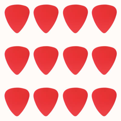 ABS Plastic Red Guitar Or Bass Pick - 0.71 mm Medium Gauge - 351 Shape - 12 Pack New