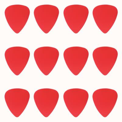 ABS Plastic Red Guitar Or Bass Pick - 0.71 mm Medium Gauge - 351 Shape - 12 Pack New