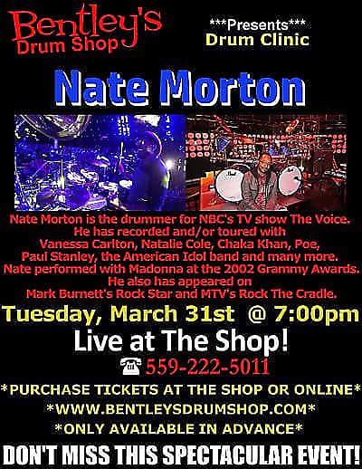 March 31st Bentley's Drum Shop Clinic VIP Ticket - Nate Morton (The Voice)
