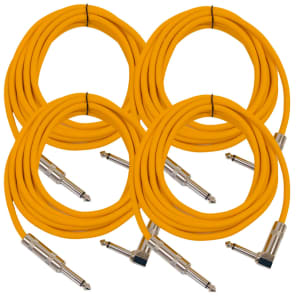 """Seismic Audio SAGC10R-ORANGE-4PACK Right Angle to Straight 1/4"""" TS Guitar/Instrument Cables - 10' (4-Pack)"""