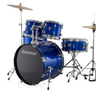 Ludwig Accent Drive 5pc Drum Set w/ Cymbals Blue Foil