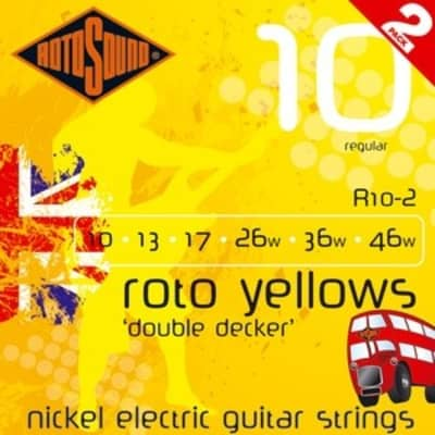 Rotosound R10-2 Roto Yellows Electric, Regular, 10-46, 2 Pack for sale