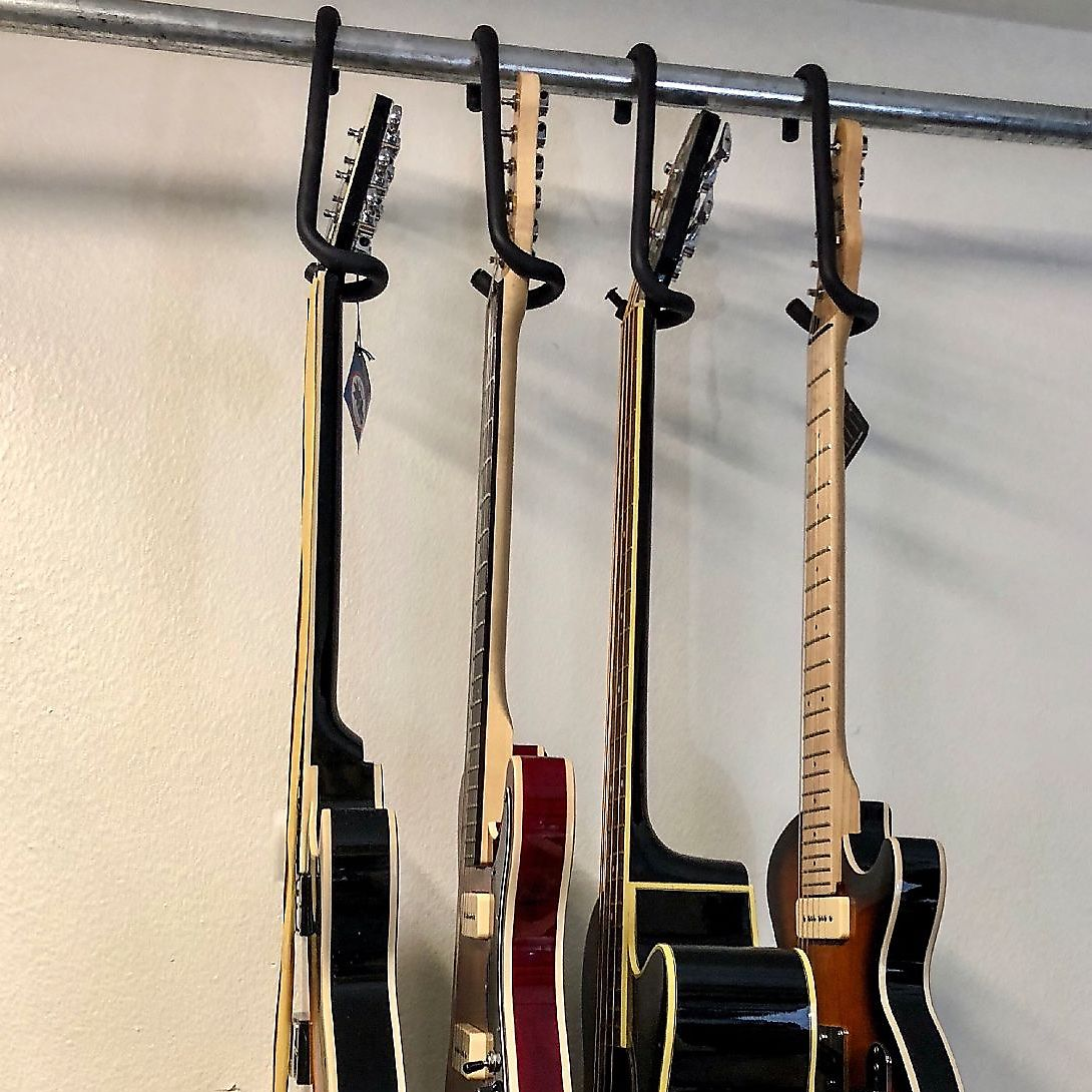 Guitar Bar Hanger: unique guitar closet hanger design. 4 point security Includes Black Guitar Cover