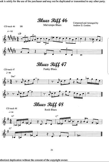 100 Ultimate Blues Riffs for Alto Saxophone & Eb instruments  Book/downloadable audio files