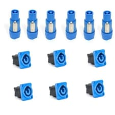 6 Powercon Male A Blue Connectors & 6 Panel Mount AC PowerCon Set by Seetronic