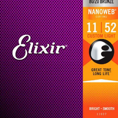 Elixir Strings 11027 Acoustic 80/20 Bronze with NANOWEB Coating, Custom Light .011-.052