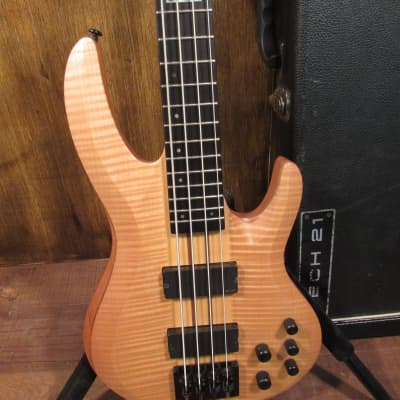ESP LTD B-1004 Deluxe Natural Satin 4 String Bass Guitar With Original Case for sale