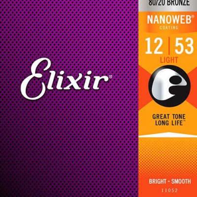 Elixir Nanoweb Acoustic 80/20 Light-Medium Gauge, 12-56