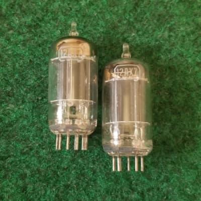 PAIR 1950s RCA 12AX7A Black Matte Plate Preamp Tubes TEST VSTG+/BAL