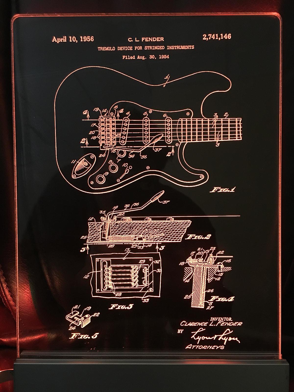 Fender Stratocaster Guitar Patent, Edge Lit Acrylic LED Sign Display, Laser  Engraved