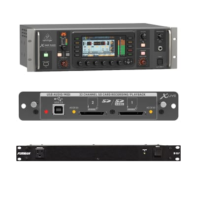 Behringer X32 Rack Digital Mixer - Behringer X-LIVE X32 Expansion Card - Furman M-8x2