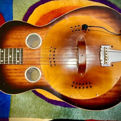 Regal  1930's Regal Roundneck Wood Body Resophonic Wood Grain Finish with Myers Pickup for sale