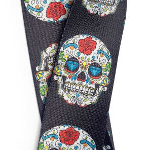 Stagg White Mexican Sugar Skull Guitar/Bass Strap Day of the Dead Coco