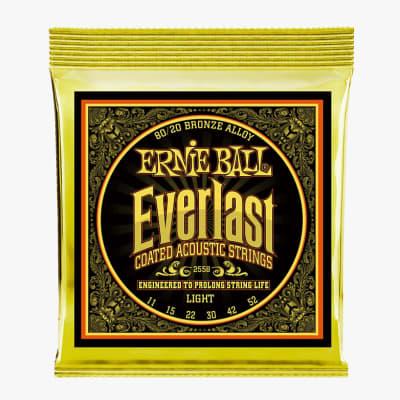 Ernie Ball 2558 EVERLAST LIGHT COATED 80/20 BRONZE ACOUSTIC GUITAR STRINGS, 11-52 x Twelve Sets