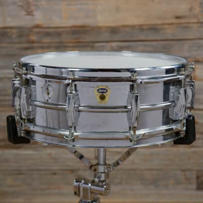 """Ludwig No. 400 Super-Ludwig 5x14"""" Chrome Over Brass Snare Drum with Transition Badge 1958 - 1960"""