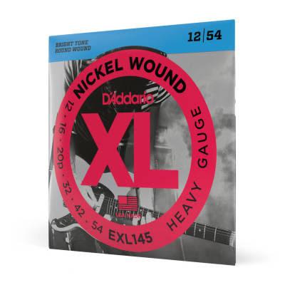 D'Addario EXL145 Nickel Wound Heavy Electric Guitar Strings, 12-54 with Plain Steel 3rd Nickel