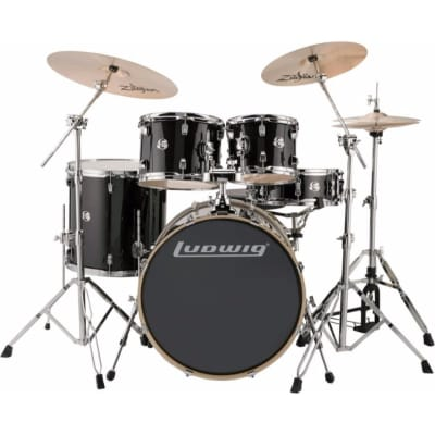 Ludwig LCEE22016 Element Evolution 5-Piece Drum Set w/ Zildjian Cymbals, Black Sparkle
