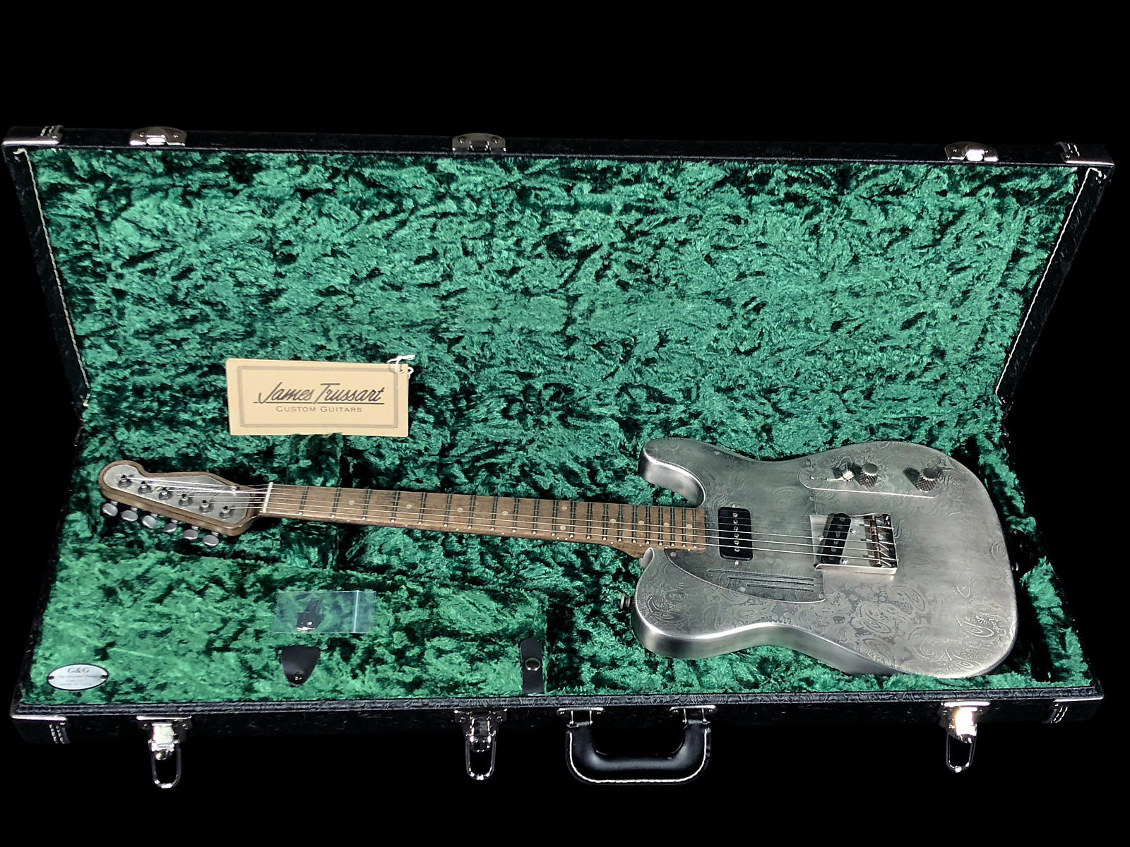 2018 James Trussart SteelCaster  Etched Paisley Steel Top, Perforated Back & TV Jones Antique Silver
