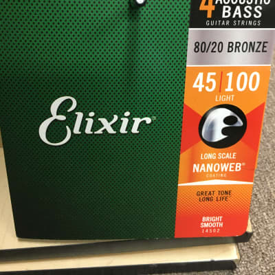 Elixir 14502 Nanoweb 80/20 Bronze Long Scale Acoustic Bass Strings - Light (45-100)