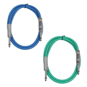 "Seismic Audio SASTSX-2-BLUEGREEN 1/4"" TS Male to 1/4"" TS Male Patch Cables - 2' (2-Pack)"
