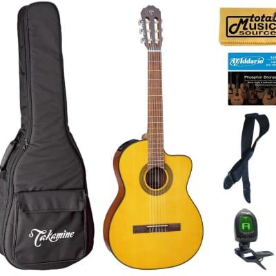 Takamine G Series GC1CE-NAT Acoustic-Electric Classical Cutaway Guitar, Natural Bag Bundle
