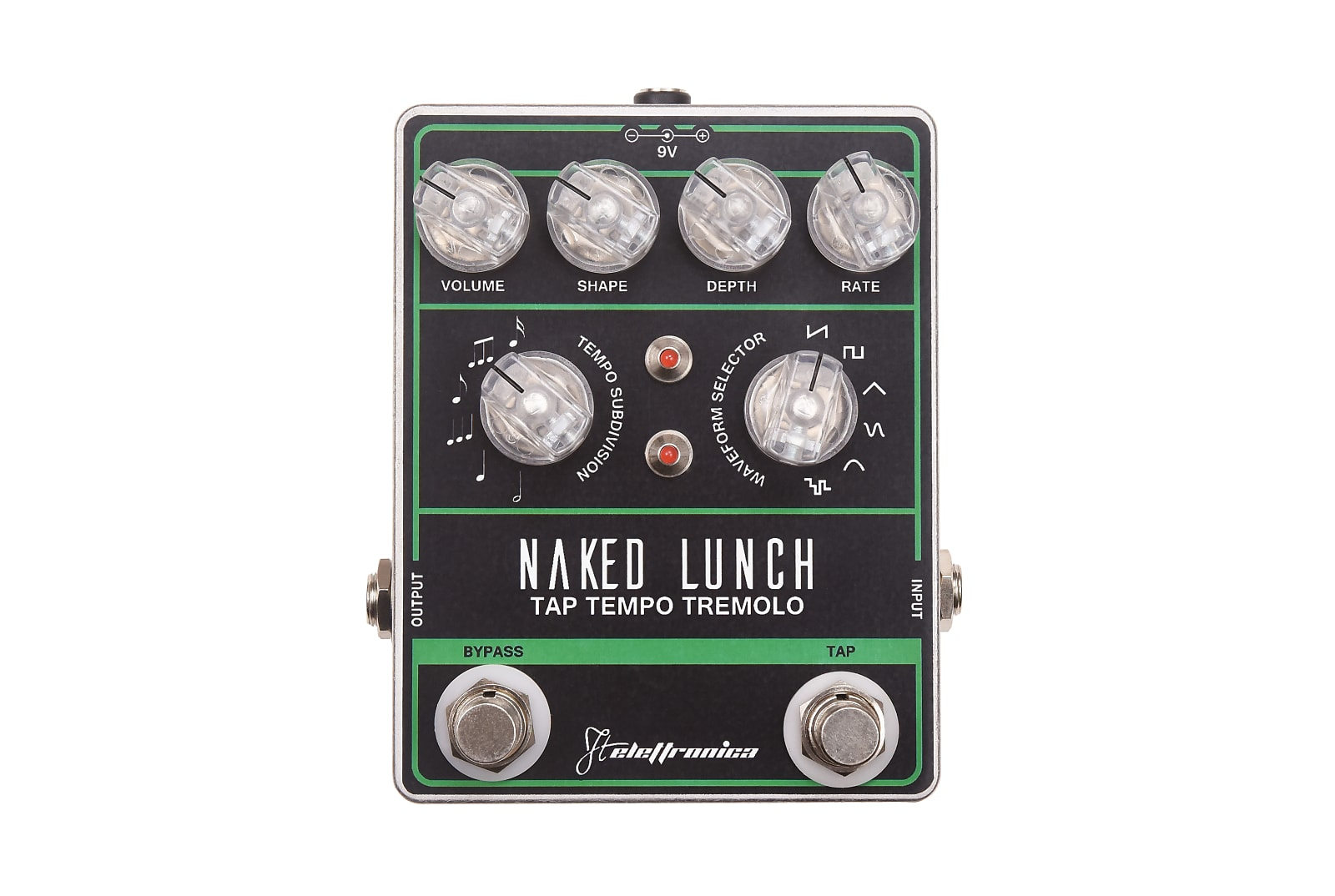 FTelettronica Naked Lunch Tap Tempo Tremolo  Black/Green/Aluminum