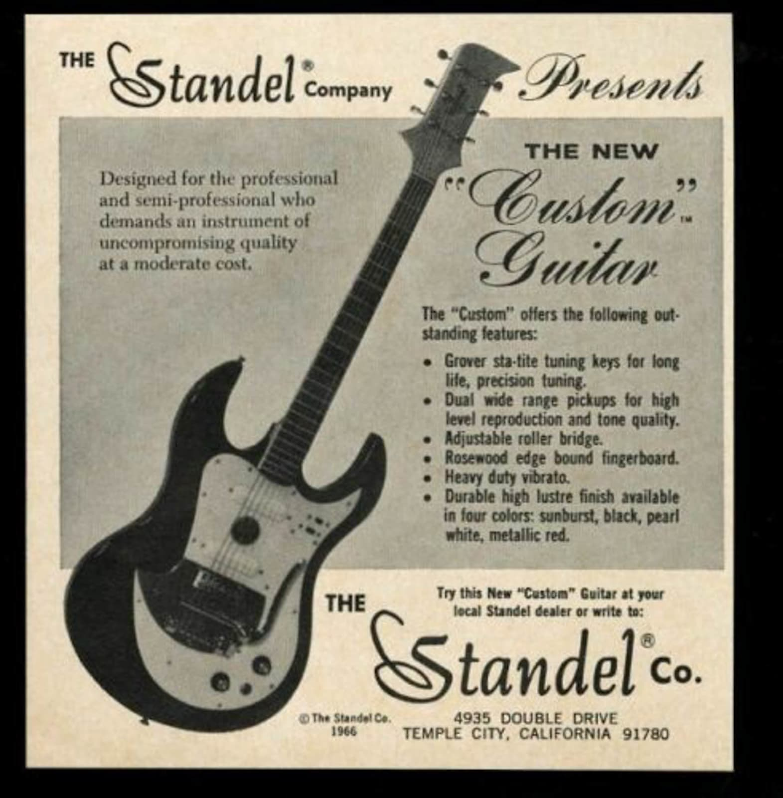 Standel  Custom Deluxe Solid Body Electric Guitar (1965), ser. #1-92, original black hard shell case.