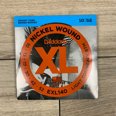 D'Addario EXL140 Nickel Wound Electric Guitar Strings, 10-52, Light Top/Heavy Bottom