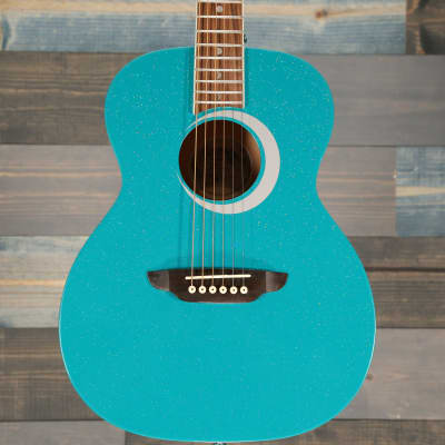 Luna Guitars Aurora Borealis 3/4 Scale Guitar Teal Sparkle for sale