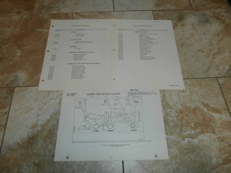 Vintage Early 1970's Fender Champ Amp Replacement Parts List and Schematic!  Original Case Candy!