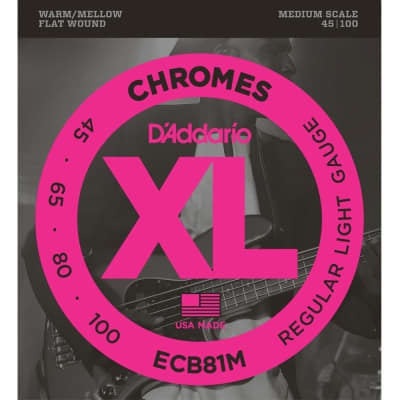 D'Addario ECB81M Chromes Bass Guitar Strings Light 45-100 Medium Scale