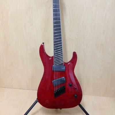 Haze 7Q TRD Fanned Frets 7-String Electric Guitar - Tiger Dark Cherry + Free Bag for sale