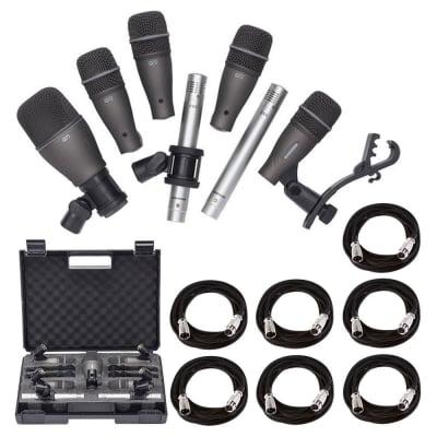 Samson DK707 7-Piece Drum Microphone Kit + 7x On Stage Mic Cable, 20 ft. XLR Bulk + Value Recording
