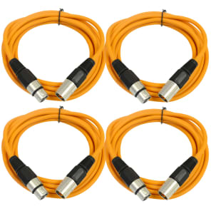 Seismic Audio SAXLX-10-4ORANGE XLR Male to XLR Female Patch Cables - 10' (4-Pack)
