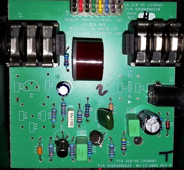 Upgraded Dunlop Crybaby Wah GCB-95 PCB Circuit Board with Red Fasel Inductor