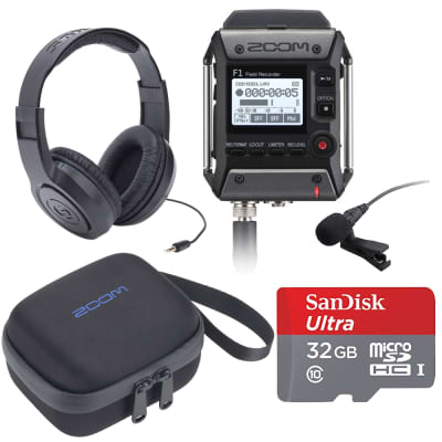 Zoom F1 Field Recorder Lavalier Package + Samson Stereo Headphones + Zoom Carrying Bag for F1-LP + 3