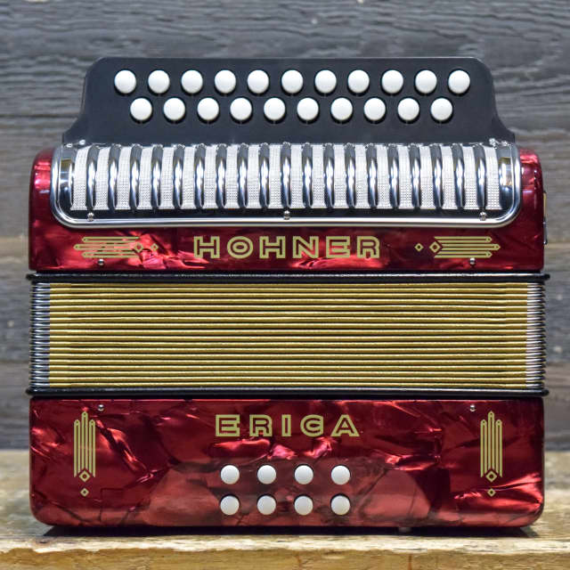 Hohner Erica Folk Line 2-Row 8-Bass 21-Treble Button C/F Red Diatonic Accordion image