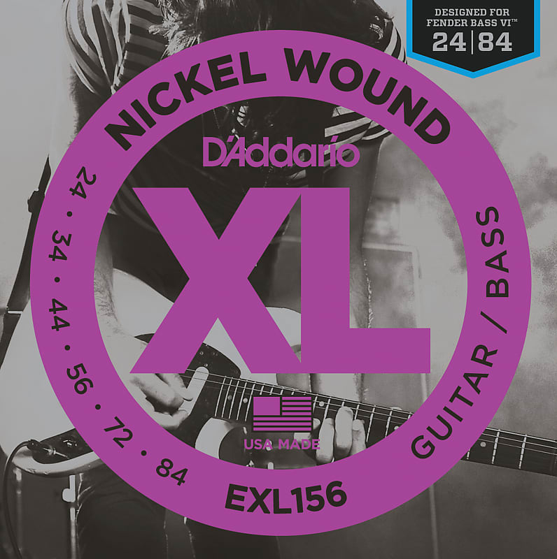 D'Addario EXL156 Nickel Wound Electric Guitar/Nickel Wound Bass Strings, Fender