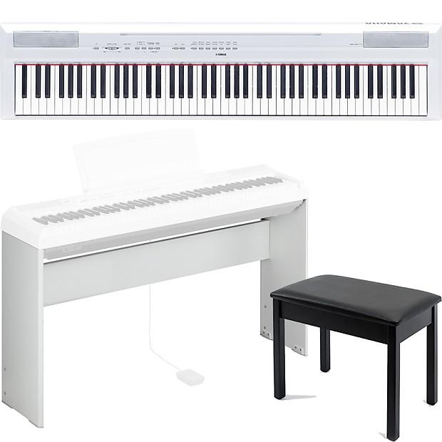 Yamaha P115 88 Key Digital Piano Keyboard White Bench Matching Stand Bundle