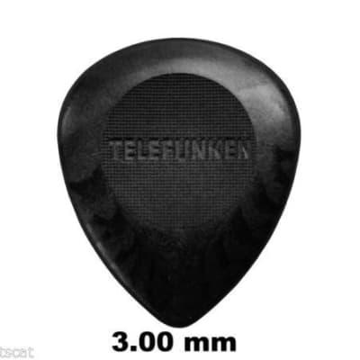 New Telefunken Elektroakustik Graphite Guitar Picks 3mm Bass Circle (6-Pack) - Black