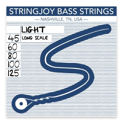 Stringjoy Light Gauge (45-125) 5 String Long Scale Nickel Wound Bass Guitar Strings