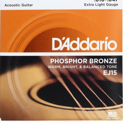 D'Addario EJ15 Phosphor Bronze Acoustic Guitar Strings, Extra Light Gauge