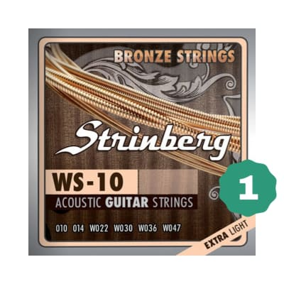 New Strinberg WS-10 Extra Light Bronze Acoustic Guitar Strings (1-PACK)