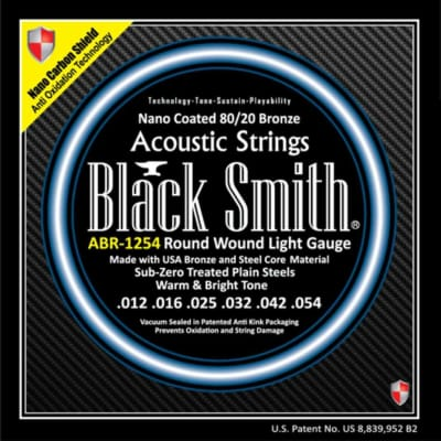 BLACKSMITH Acoustic 6 String Set, Nano-Carbon Coated 80/20 Bronze - Light 12-54
