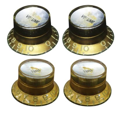 HOSCO KG-130SI/R Potentiometer Knob Set Tone and Volume knob, Top Hat, Aged, Gold with Silver cap (inch size) for sale